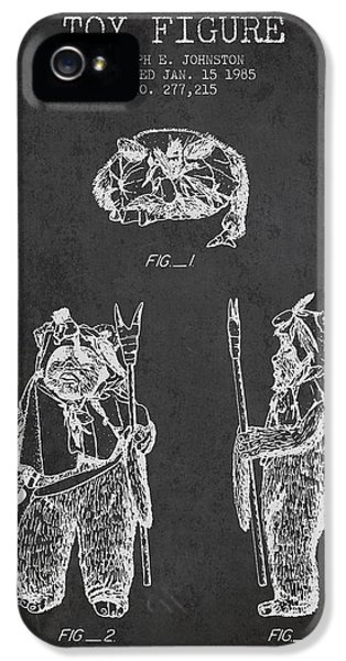 Yoda iPhone 5 Cases - Star Wars Toy Figure no4 patent drawing from 1985 - Charcoal iPhone 5 Case by Aged Pixel