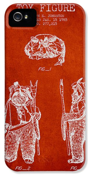 Yoda iPhone 5 Cases - Star Wars Toy Figure no4 patent drawing from 1985 - Red iPhone 5 Case by Aged Pixel
