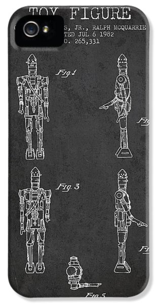 Yoda iPhone 5 Cases - Star Wars Toy Figure no5 patent drawing from 1982 - Charcoal iPhone 5 Case by Aged Pixel