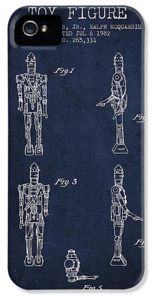 Yoda iPhone 5 Cases - Star Wars Toy Figure no5 patent drawing from 1982 - Navy Blue iPhone 5 Case by Aged Pixel
