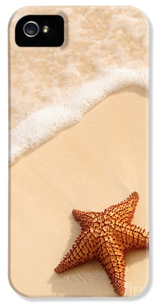 Ashore iPhone 5 Cases - Starfish and ocean wave iPhone 5 Case by Elena Elisseeva