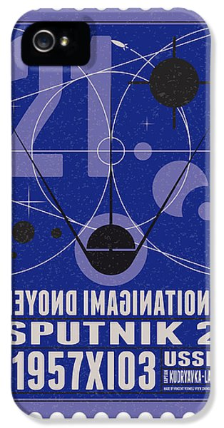 Science Fiction iPhone 5 Cases - Starschips 21- poststamp - Sputnik 2 iPhone 5 Case by Chungkong Art