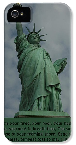 Statue Photographs iPhone 5 Cases - Statue of Liberty Inscription iPhone 5 Case by National Park Service