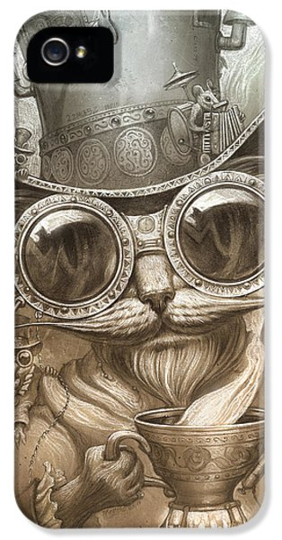 Steampunk iPhone 5 Cases - Steampunk Cat iPhone 5 Case by Jeff Haynie