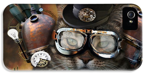 Steampunk iPhone 5 Cases - Steampunk Cat iPhone 5 Case by Juli Scalzi