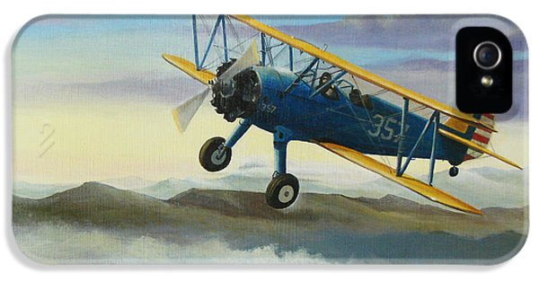 Engine iPhone 5 Cases - Stearman Biplane iPhone 5 Case by Stuart Swartz