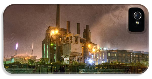 Fuel And Power Generation iPhone 5 Cases - Steel Mill at Night iPhone 5 Case by Juli Scalzi