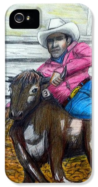 Steer Wrestling Original For Sale IPhone 5 / 5s Case by Larry Lamb