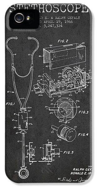 Hospital iPhone 5 Cases - Stethoscope Patent Drawing From 1966- Dark iPhone 5 Case by Aged Pixel