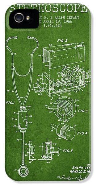Hospital iPhone 5 Cases - Stethoscope Patent Drawing From 1966- Green iPhone 5 Case by Aged Pixel