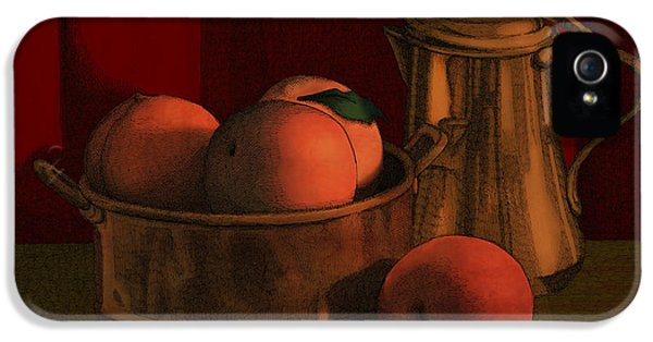 Copper iPhone 5 Cases - Still Life with Peaches iPhone 5 Case by Meg Shearer