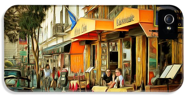 Ristorante iPhone 5 Cases - North Beach Street Scene Outdoor Dining San Francisco 7d7451brun iPhone 5 Case by Wingsdomain Art and Photography