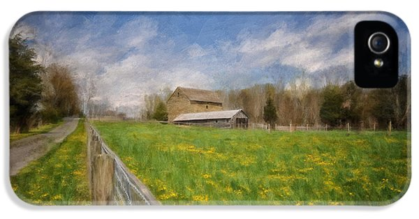 Road iPhone 5 Cases - Stone Barn On A Spring Morning iPhone 5 Case by Lois Bryan