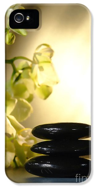 White Flowers iPhone 5 Cases - Stone Cairn and Orchids iPhone 5 Case by Olivier Le Queinec
