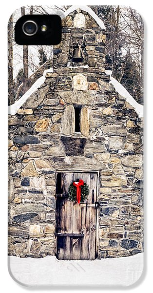 Stone Chapel In The Woods Trapp Family Lodge Stowe Vermont IPhone 5 / 5s Case by Edward Fielding