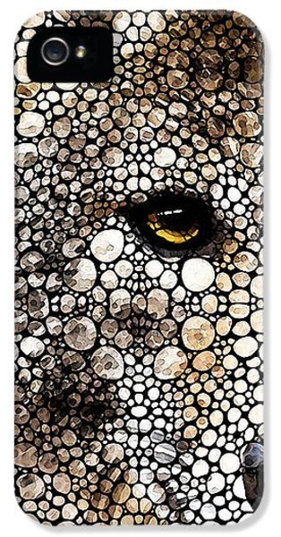 Camping iPhone 5 Cases - Stone Rockd Wolf Art by Sharon Cummings iPhone 5 Case by Sharon Cummings