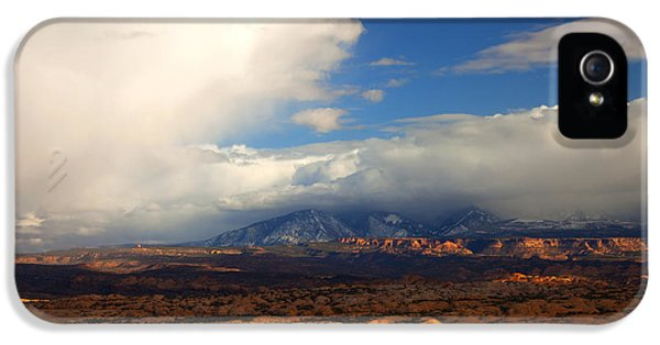 Storm Clouds iPhone 5 Cases - Storm Over the La Sals iPhone 5 Case by Mike  Dawson