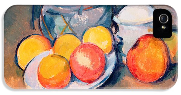 Still-life iPhone 5 Cases - Straw Covered Vase Sugar Bowl and Apples iPhone 5 Case by Paul Cezanne