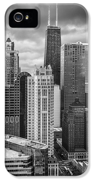 John Hancock Building iPhone 5 Cases - Streeterville From Above Black and White iPhone 5 Case by Adam Romanowicz