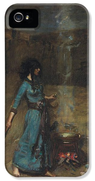 Witch iPhone 5 Cases - Study For The Magic Circle, 1886 Oil On Canvas iPhone 5 Case by John William Waterhouse