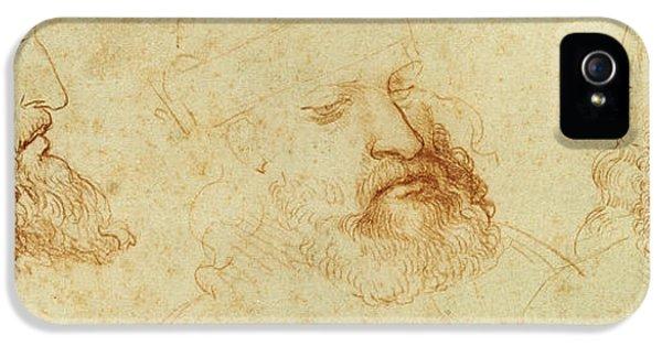 Contemplative iPhone 5 Cases - Study of a male head iPhone 5 Case by Leonardo Da Vinci