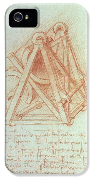 Sketch iPhone 5 Cases - Study Of The Wooden Framework With Casting Mould For The Sforza Horse, Fol. 154v From The Codex iPhone 5 Case by Leonardo da Vinci