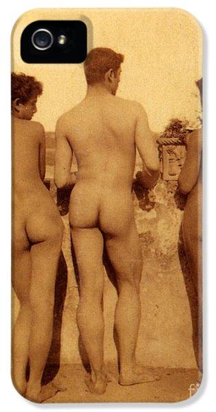 Nudity iPhone 5 Cases - Study of Three Male Nudes iPhone 5 Case by Wilhelm von Gloeden