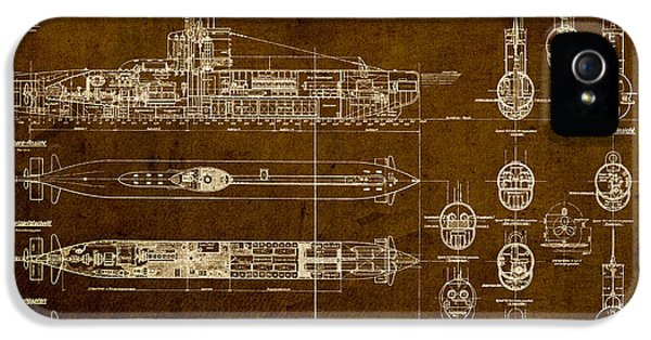Blueprint iPhone 5 Cases - Submarine Blueprint Vintage on Distressed Worn Parchment iPhone 5 Case by Design Turnpike