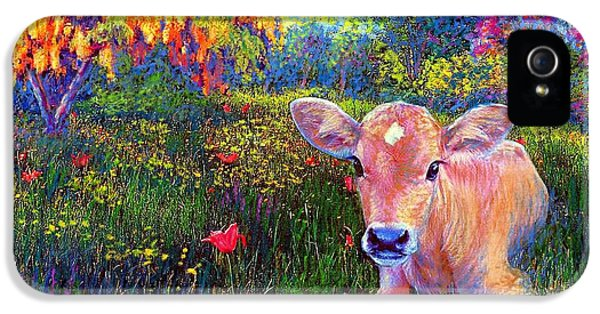 Tulips iPhone 5 Cases - Such a Contented Cow iPhone 5 Case by Jane Small