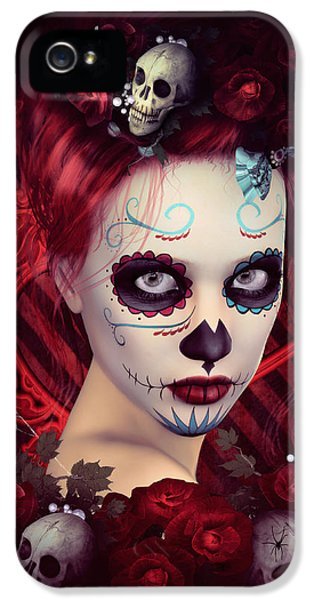 Spooky iPhone 5 Cases - Sugar Doll Red iPhone 5 Case by Shanina Conway