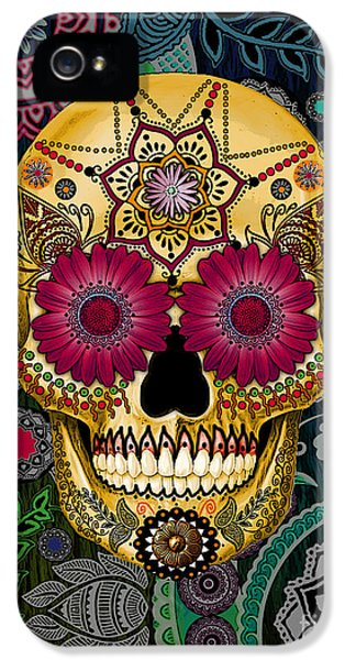 Sugar Skull Paisley Garden - Copyrighted IPhone 5 / 5s Case by Christopher Beikmann