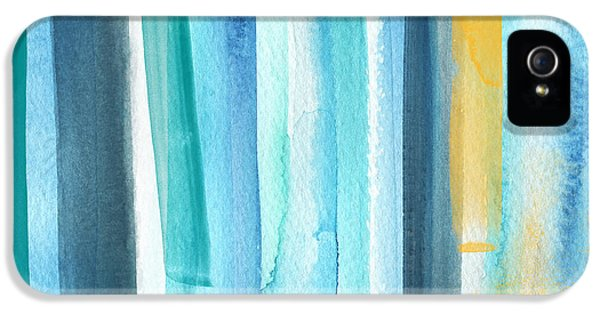 Stripes iPhone 5 Cases - Summer Surf- Abstract Painting iPhone 5 Case by Linda Woods