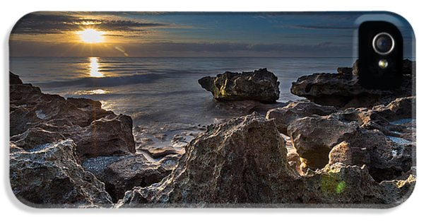 Outdoors iPhone 5 Cases - Sunrise at Coral Cove Park in Jupiter iPhone 5 Case by Andres Leon