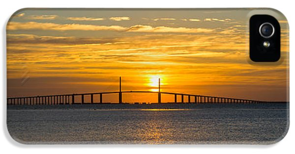 Build iPhone 5 Cases - Sunrise Over Sunshine Skyway Bridge iPhone 5 Case by Panoramic Images