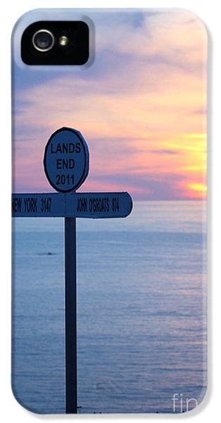 Extremity iPhone 5 Cases - Sunset at Lands End Sign Post iPhone 5 Case by Terri  Waters