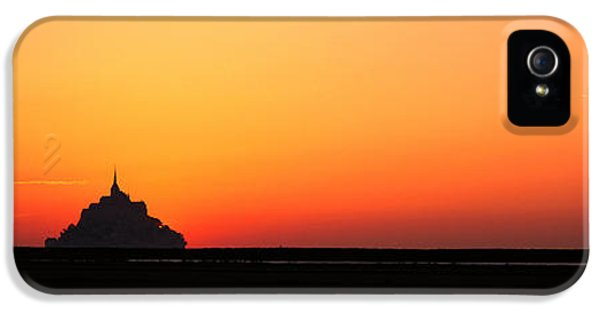 Sillouette iPhone 5 Cases - Sunset At Mont Saint Michel Normandy iPhone 5 Case by Panoramic Images