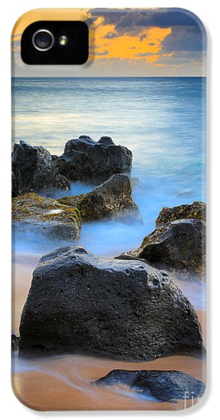 Reflective iPhone 5 Cases - Sunset Beach Rocks iPhone 5 Case by Inge Johnsson