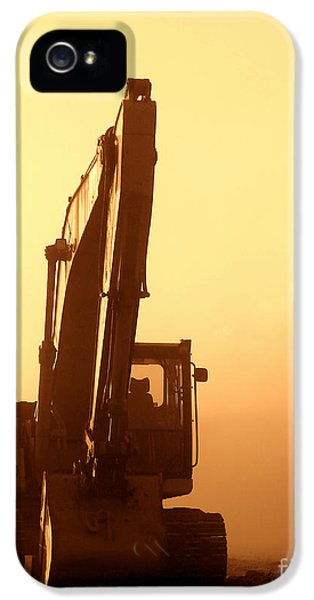 Equipment iPhone 5 Cases - Sunset Excavator iPhone 5 Case by Olivier Le Queinec