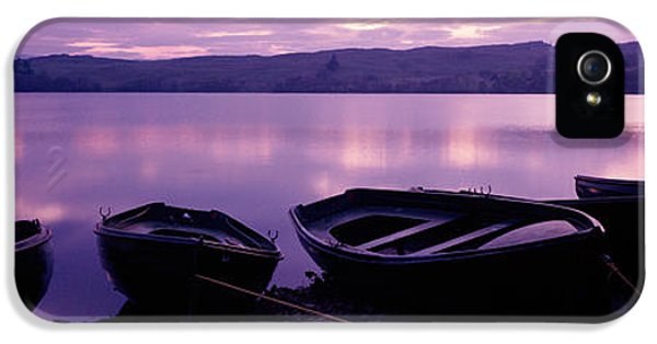 Ashore iPhone 5 Cases - Sunset Fishing Boats Loch Awe Scotland iPhone 5 Case by Panoramic Images