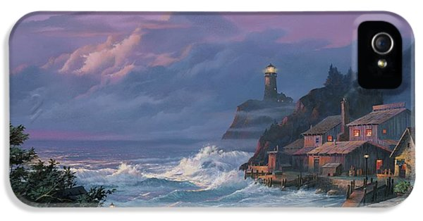 Lighthouse iPhone 5 Cases - Sunset Fog iPhone 5 Case by Michael Humphries