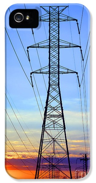Transmission iPhone 5 Cases - Sunset Power Lines iPhone 5 Case by Olivier Le Queinec