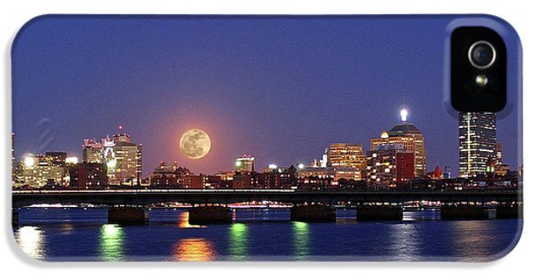 Boston iPhone 5 Cases - Super Moon over Boston iPhone 5 Case by Juergen Roth