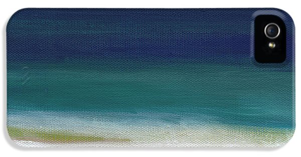 Office Art iPhone 5 Cases - Surf and Sky- abstract beach painting iPhone 5 Case by Linda Woods