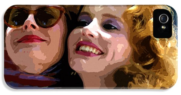 Geena Davies iPhone 5 Cases - Susan Sarandon And Geena Davies Alias Thelma And Louis - Watercolor iPhone 5 Case by Michael Braham