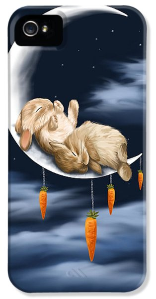 Bunny iPhone 5 Cases - Sweet dreams iPhone 5 Case by Veronica Minozzi