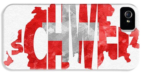 Modern Steampunk iPhone 5 Cases - Switzerland Typographic Map Flag iPhone 5 Case by Ayse Deniz