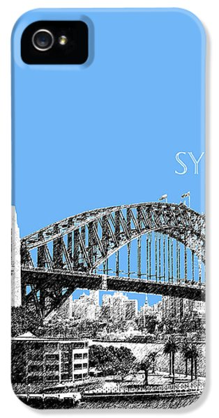 Sydney Skyline 2 Harbor Bridge - Light Blue IPhone 5 / 5s Case by DB Artist