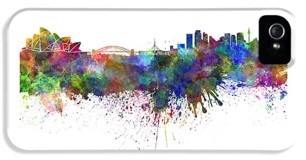 Sydney Skyline In Watercolor On White Background IPhone 5 / 5s Case by Pablo Romero