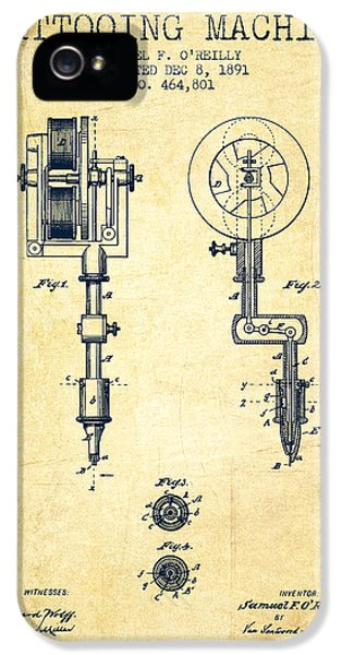 Blueprint iPhone 5 Cases - Tattooing Machine Patent from 1891 - Vintage iPhone 5 Case by Aged Pixel
