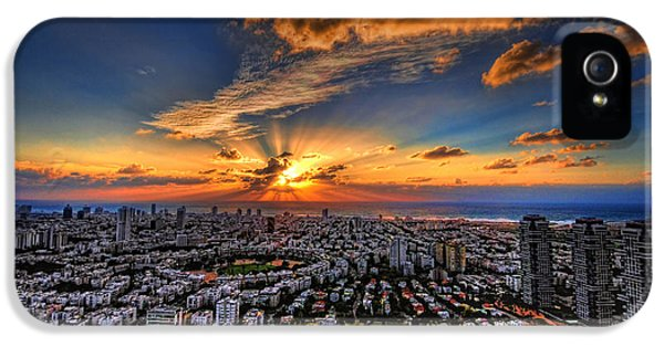 Judaica iPhone 5 Cases - Tel Aviv sunset time iPhone 5 Case by Ron Shoshani